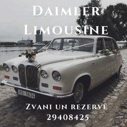 Balts kāzu limuzīns | Balts kāzu auto | Auto retro | Daimler Limousine | Kāzu limuzīns | Auto kāzām | Balts auto kāzās | Reto auto kāzām | Kāzu mašīna