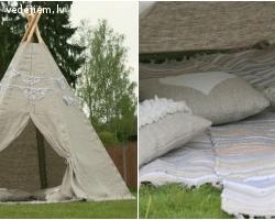 Lina auduma vigvam - telts mazajiem kāzu viesiem