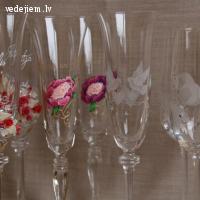 Gravētas un dekorētas šampanieša glāzes